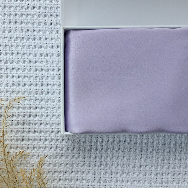 Lilac silk pillowcase in giftbox by Monday Silks
