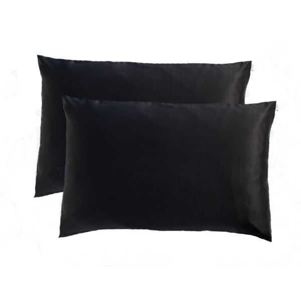 2 Black Silk Pillowcase - Std - Monday Silks