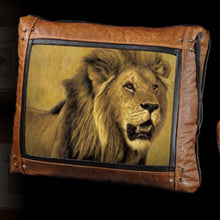 Banovich Wild Accents-Big Five-Lion-Leather Pillow