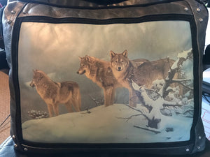 Banovich Wild Accents-High Country Wolves-Leather Pillow