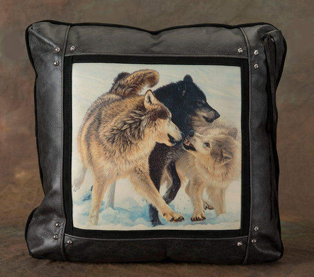 Banovich Wild Accents-Alpha-Leather Pillow 1