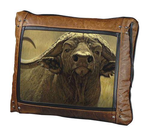 Banovich Wild Accents-Big Five-Cape Buffalo-Leather Pillow
