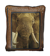 Banovich Wild Accents-Big Five-Elephant-Leather Pillow