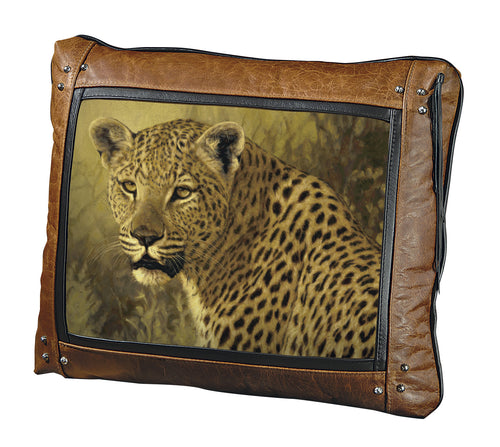Banovich Wild Accents-Big Five-Leopard-Leather Pillow