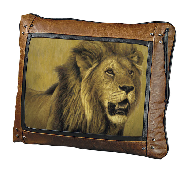 Banovich Wild Accents-Big Five-Lion-Leather Pillow 1