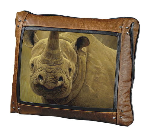 Banovich Wild Accents-Big Five-Rhino-Leather Pillow