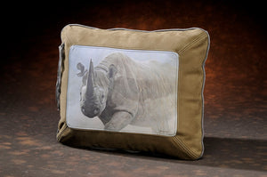 Banovich Wild Accents-Black Rhino-Leather Pillow