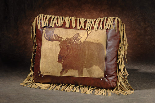 Banovich Wild Accents-Bull of the Woods-Leather Pillow