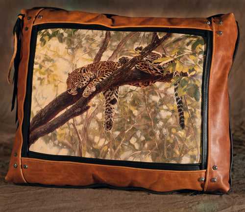 Banovich Wild Accents-Comfort in the Trees-Leather Pillow