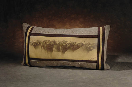 Banovich Wild Accents-Defensive Line (Sepia)-Leather Pillow
