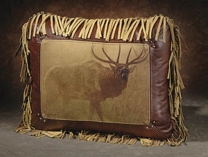 Banovich Wild Accents-Echoes of Yellowstone-Leather Pillow