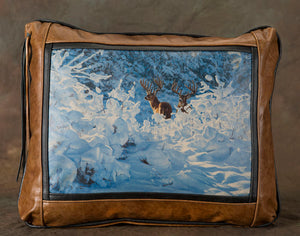 Banovich Wild Accents-Fresh Snow-Leather Pillow