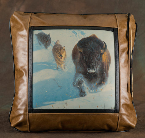 Banovich Wild Accents-Head On-Leather Pillow