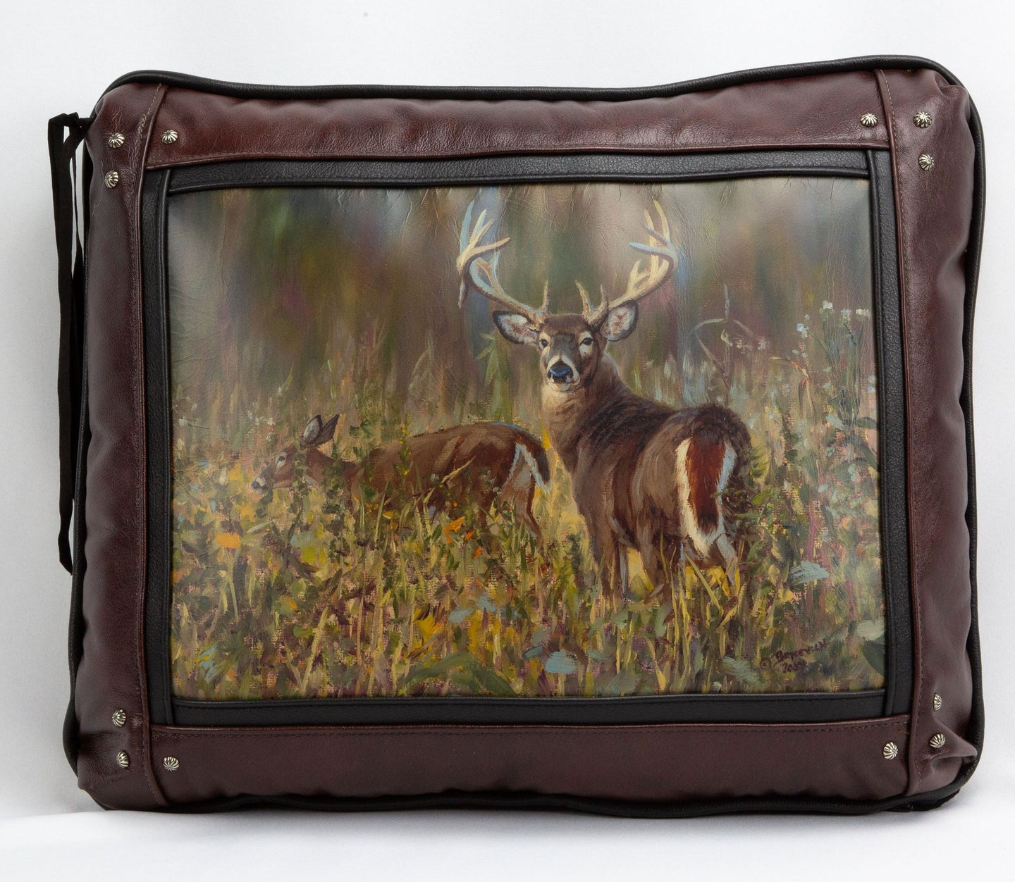 Banovich Wild Accents-In the Soybeans-Leather Pillow