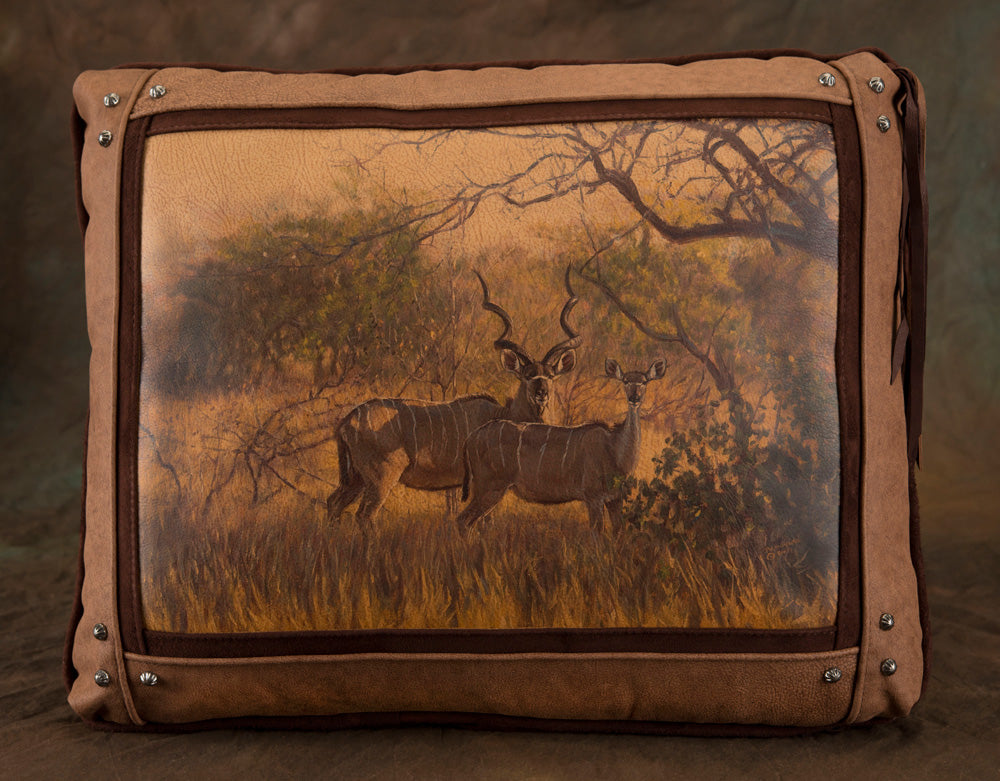 Banovich Wild Accents-Kudu in the Lowveld-Leather Pillow