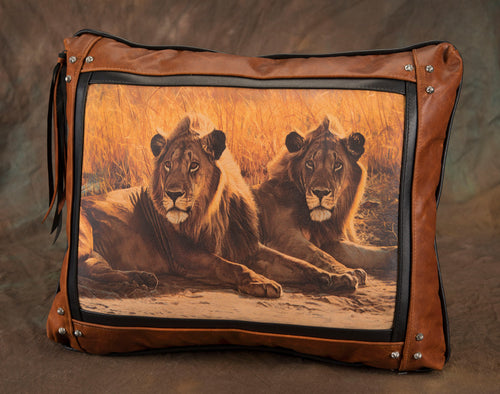 Banovich Wild Accents-Lion Eyes-Leather Pillow