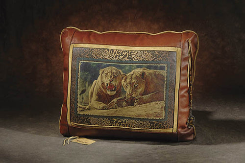 Banovich Wild Accents-Maneaters of Tsavo-Leather Pillow