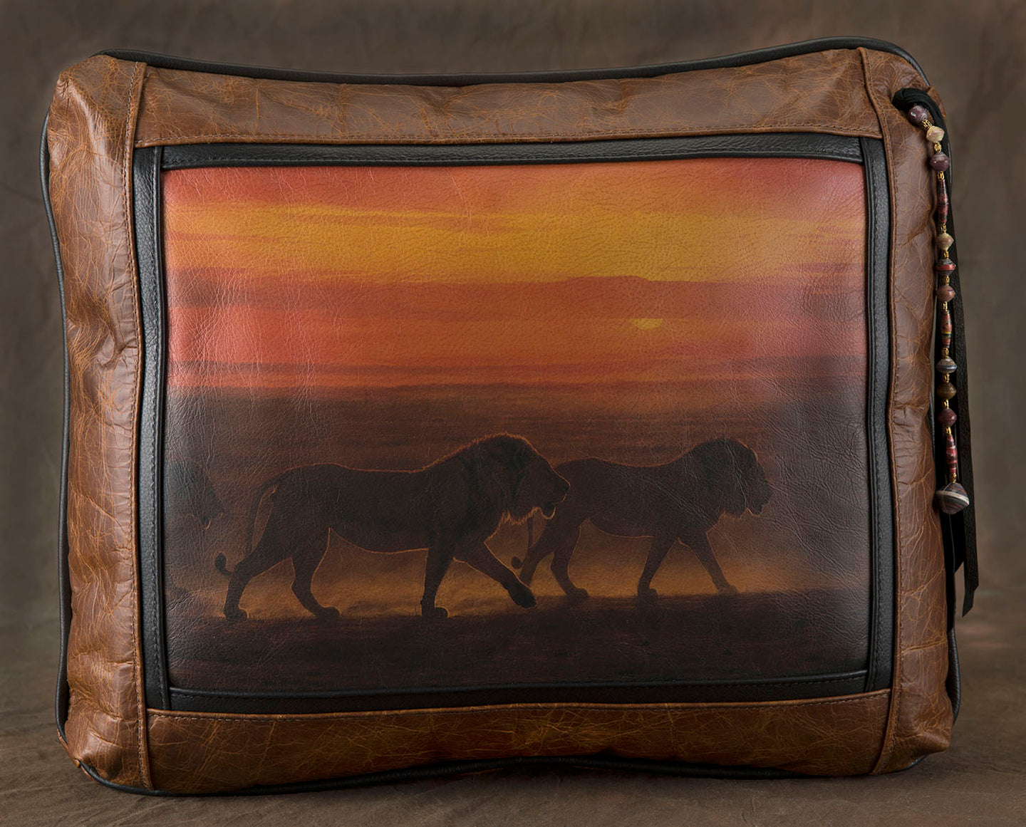 Banovich Wild Accents-Night Fire-Leather Pillow
