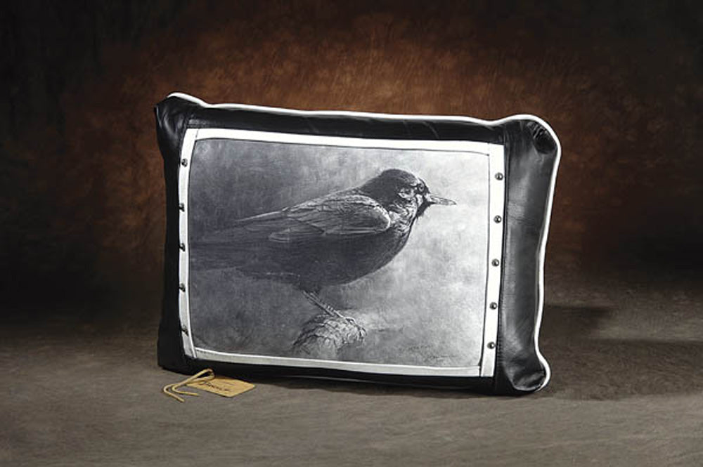 Banovich Wild Accents-Eye of the Raven (black & tan)-Leather Pillow