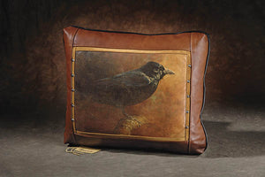 Banovich Wild Accents-Eye of the Raven (color)-Leather Pillow