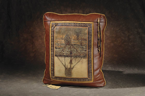Banovich Wild Accents-The Long Drink-Leather Pillow