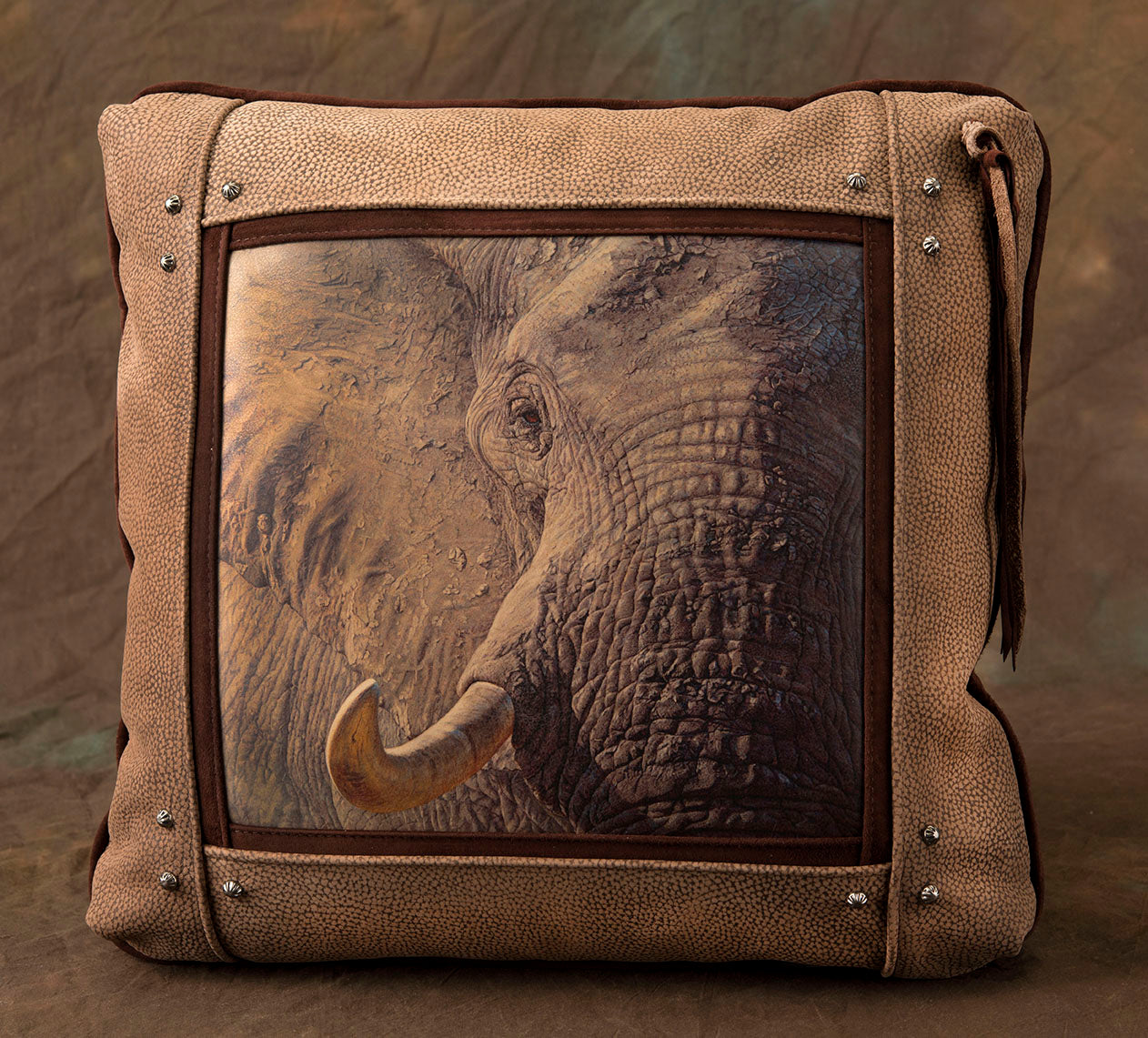 Banovich Wild Accents-Tusk-Leather Pillow