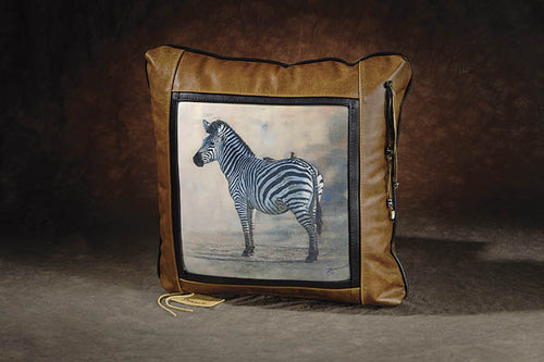 Banovich Wild Accents-Zebra with Oxpeckers-Leather Pillow