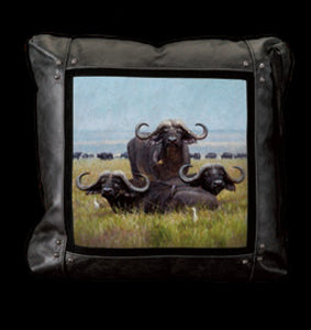 Banovich Wild Accents-Nyati in the Sweet Grass-Leather Pillow