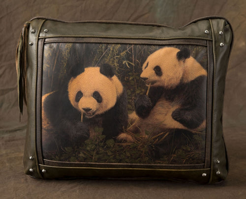 Banovich Wild Accents-Panda Pair-Leather Pillow