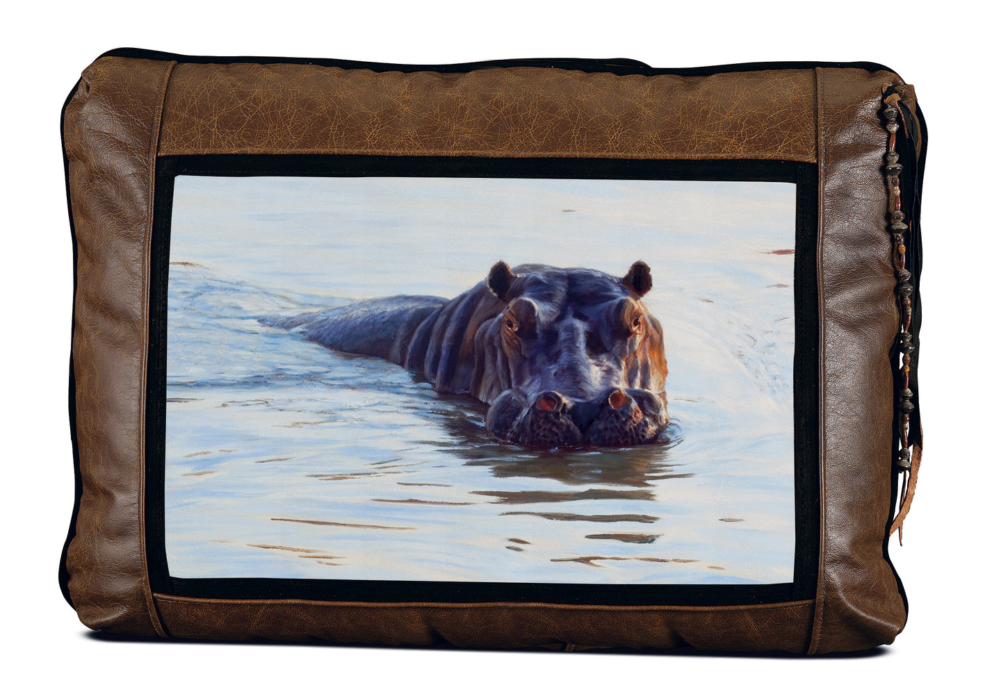 Banovich Wild Accents-River Horse-Leather Pillow