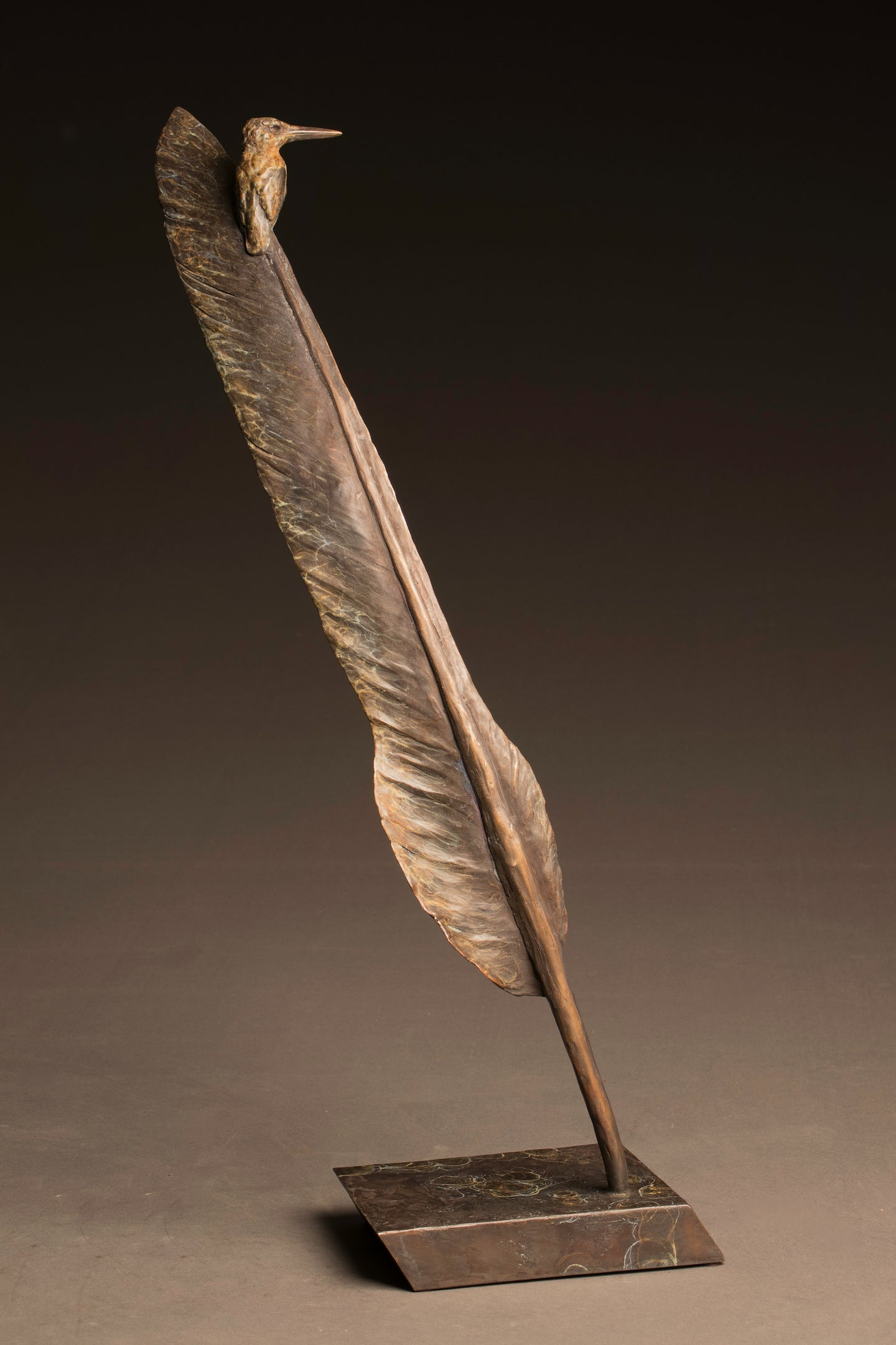 Stefan Savides - African Extremes-Kingfisher on Kori Bustard Feather  - Limited Edition Sculpture