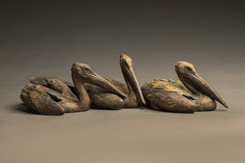 Stefan Savides - Tres Pescadores-White Pelican Trio - Limited Edition Sculpture
