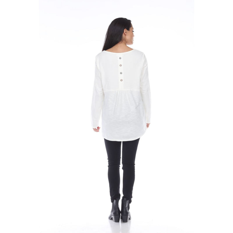 White Top with Back Button Detail