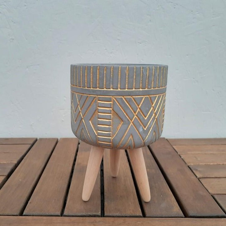 Grey and Gold Tripod Pot