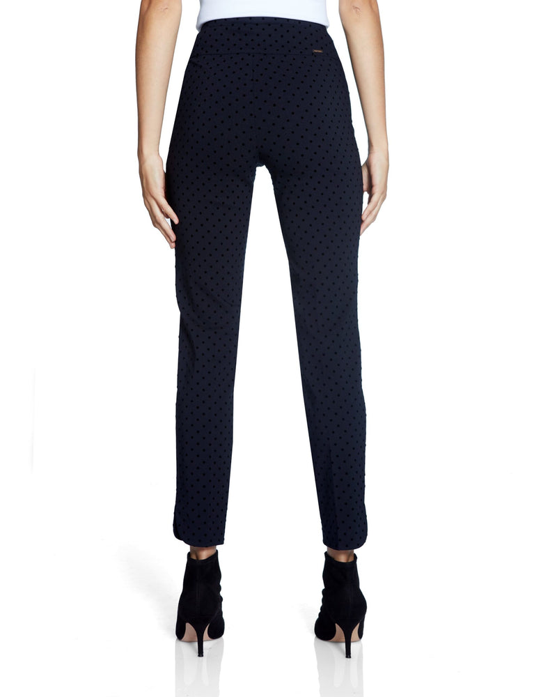 Navy Polka Dot Pants with Side Slit