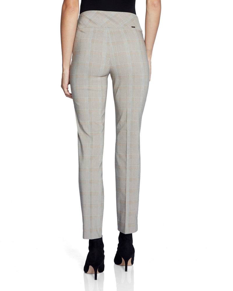 Plaid Print Pants with Side Slit