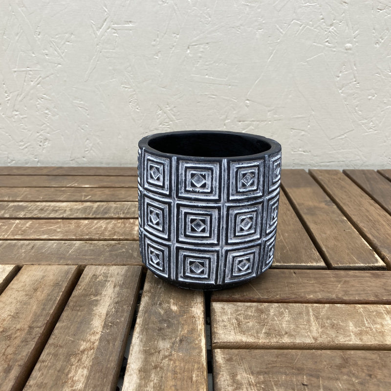 Black Square Pattern Pot