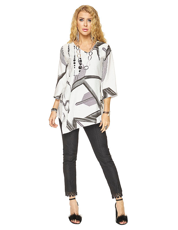 Black and White button front tunic
