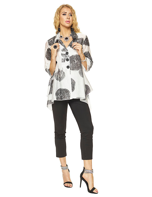 Black and White Pola Dot Button Up Tunic with Handkerchief Hemline