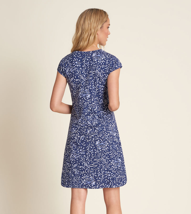 Navy Blue and White Floral Short Sleeve Dress with Pink Embroidered Detail