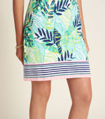 Turquoise and Green Tropical Print Cotton Dress with Short Sleeves