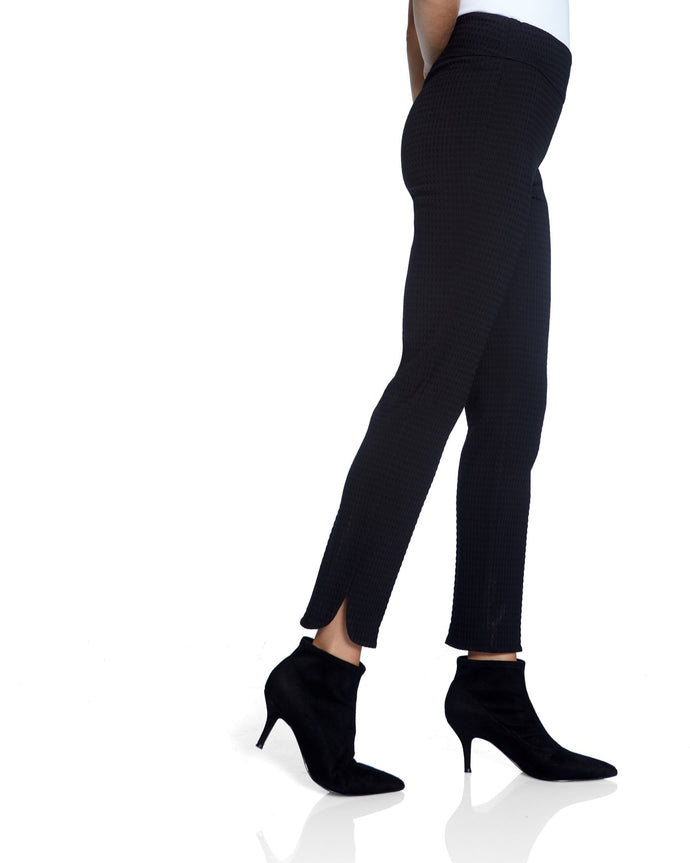 Textured Black Pant with Side Slit Detail