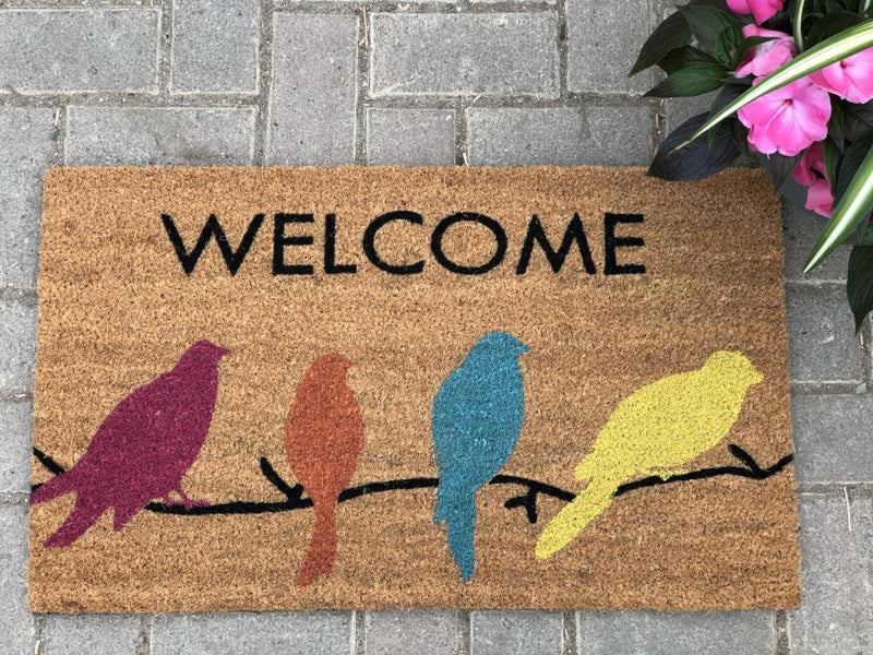 Door Mat Coco Fibre  - Welcome Birds