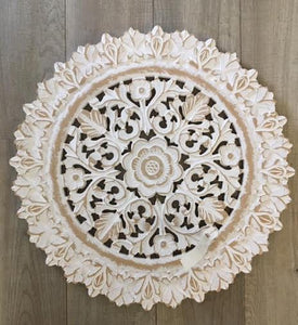 White Carved Floral Medallion Wall Art