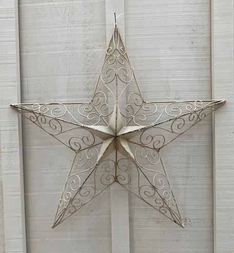 Cream Star Wall Art - Medium