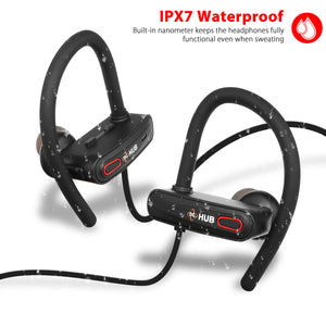 DC HUB X1's IPX7 Waterproof BUILT IN NANOMETER KEEPS THE HEADPHONES FULLY FUNCTIONAL WHEN SWEATING.