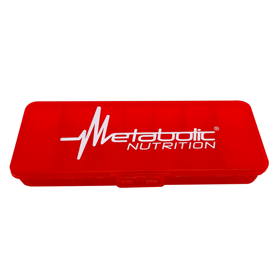 Metabolic Nutrition, red, rectangular, 7 day, pill case.