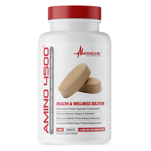 Amino 4500, 180 tablets. Maximum Hydrolyzed Amino Acid Complex. Health and Wellness Solution.