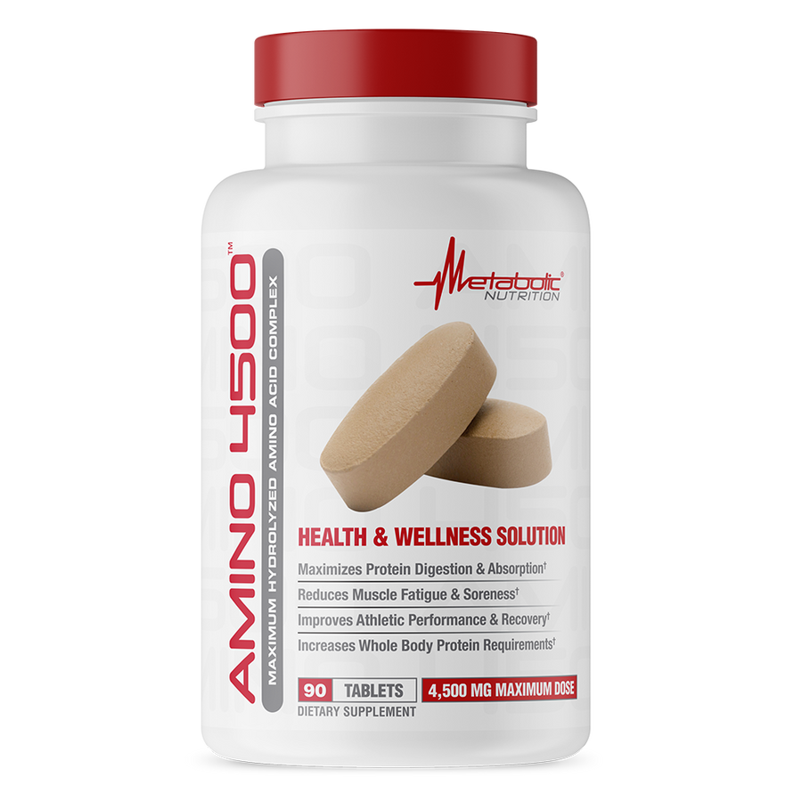Amino 4500, 90 tablets. Maximum Hydrolyzed Amino Acid Complex. Health and Wellness Solution.