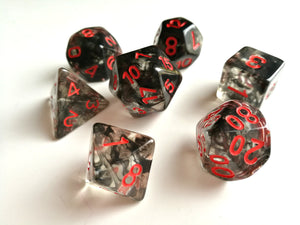 Smoke with Red Ink Translucent Dice Set